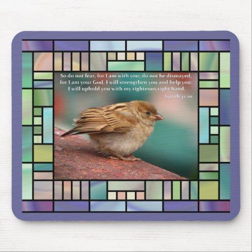 Verso de la biblia del 41:10 de Isaías con el vitr Tapete De Ratón