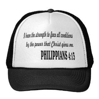 Verso de la biblia del 4:13 de los FILIPENSES Gorra