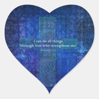 VERSO de la BIBLIA del 4 13 de los filipenses Colcomanias Corazon