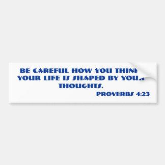 Verso de la biblia del 4 23 de los PROVERBIOS Etiqueta De Parachoque