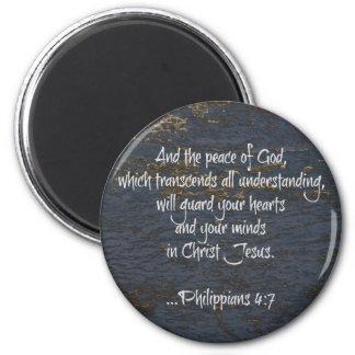 Verso de la biblia del 4:7 de los filipenses iman de nevera