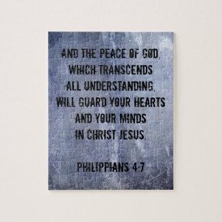 Verso de la biblia del 4:7 de los filipenses puzzle