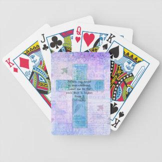 Verso de la biblia del 61:2 del salmo y arte barajas de cartas