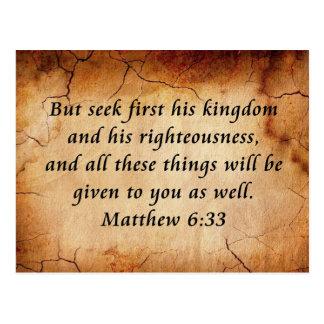 Verso de la biblia del 6:33 de Matthew Tarjetas Postales