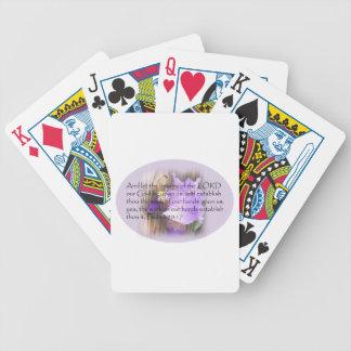 Verso de la biblia del 90:17 KJV del salmo Baraja Cartas De Poker