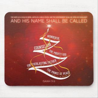 Verso de la biblia del 9:6 del navidad Mousepad -