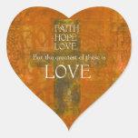 Verso de la biblia del amor de la esperanza de la pegatina en forma de corazón