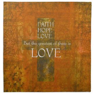 Verso de la biblia del amor de la esperanza de la  servilleta imprimida