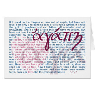 Verso de la biblia del amor en tarjeta cristiana