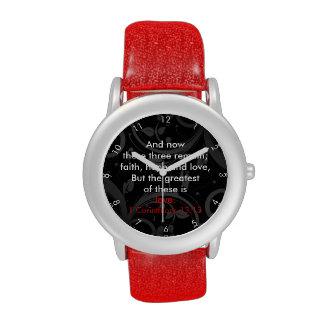 Verso de la biblia del amor, negro/rojo reloj