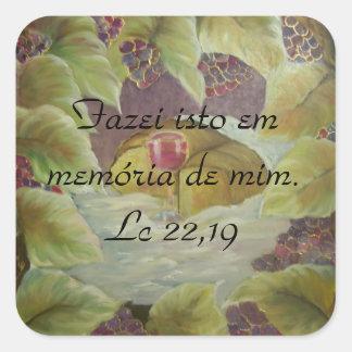 Verso de la biblia del Lc 22,19 Pegatina Cuadrada
