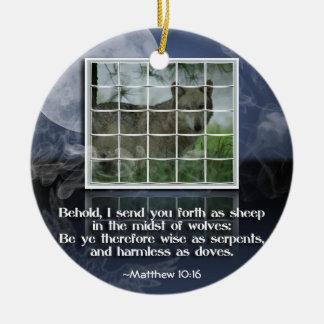 VERSO de la BIBLIA del ORNAMENTO del 10:16 de Adorno De Navidad