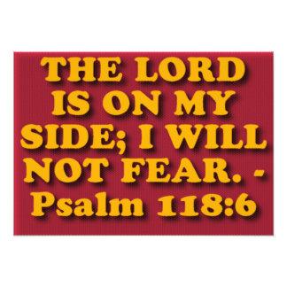 Verso de la biblia del salmo 118: 6. arte con fotos