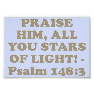 Verso de la biblia del salmo 148: 3. arte fotográfico
