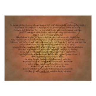 Verso de la biblia del salmo 91 póster