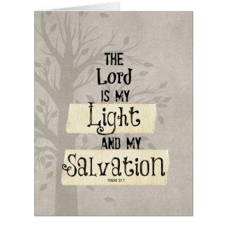 Verso de la biblia: El señor es mi luz y mi Tarjeta De Felicitación Grande