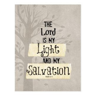 Verso de la biblia: El señor es mi luz y mi Postal