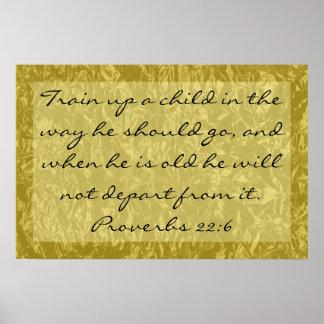 verso de la biblia en 22:6 de los proverbios de lo póster