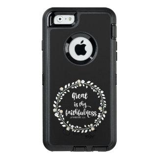 Verso de la biblia: Grande es thy fidelidad Funda OtterBox Defender Para iPhone 6