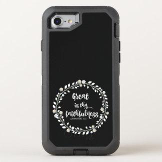 Verso de la biblia: Grande es thy fidelidad Funda OtterBox Defender Para iPhone 7