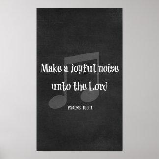 Verso de la biblia: Haga un ruido alegre 12 x 20 Póster