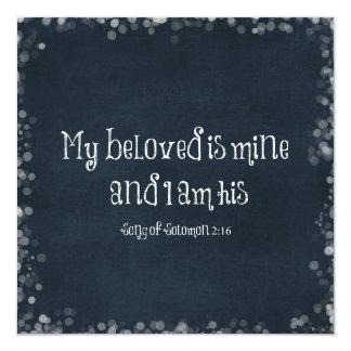 """Verso de la biblia: Mi querido es el mío y soy el Invitación 5.25"""" X 5.25"""""""
