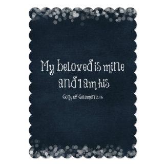 """Verso de la biblia: Mi querido es el mío y soy el Invitación 5"""" X 7"""""""
