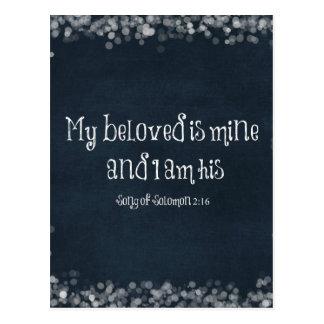 Verso de la biblia: Mi querido es el mío y soy el Postal