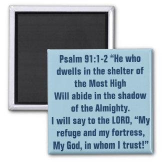 Verso de la biblia para el 91:1 del salmo de las imán cuadrado