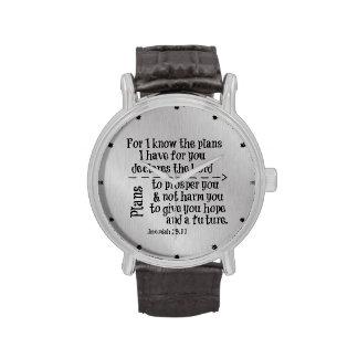 Verso de la biblia: Para mí sé los planes que Relojes De Mano