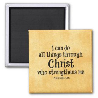 Verso de la biblia: Puedo hacer todas las cosas a Imán Cuadrado