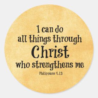 Verso de la biblia Puedo hacer todas las cosas a Etiqueta Redonda