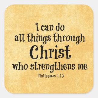 Verso de la biblia: Puedo hacer todas las cosas a Pegatina Cuadrada