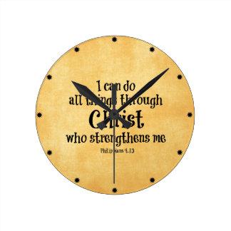 Verso de la biblia: Puedo hacer todas las cosas a Reloj De Pared