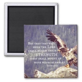 Verso de la biblia: Renueve la fuerza, alas como Imán Cuadrado