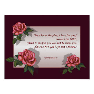 Verso de la biblia: Rosas rosados: 29:11 de Jeremi Póster