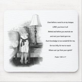 Verso de la biblia: Salmo 139: Pequeño chica: Dibu Alfombrillas De Ratones