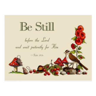 Verso de la biblia: Salmo 37: Todavía esté: Espera Tarjetas Postales