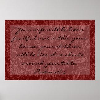 verso de la biblia sobre 128:3 del salmo de la fam póster
