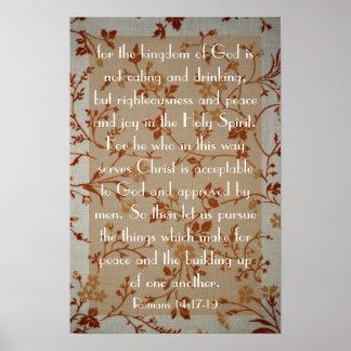 verso de la biblia sobre el 14:17 romano de la paz póster