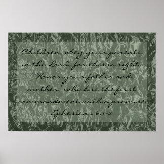 verso de la biblia sobre el 6:1 de Ephesians de la Póster