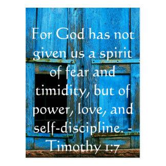 Verso de la biblia sobre el valor - 1:7 de Timothy Tarjetas Postales