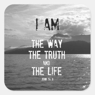 Verso de la biblia: Soy la manera, verdad, vida Pegatina Cuadrada