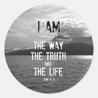 Verso de la biblia: Soy la manera, verdad, vida Pegatina Redonda