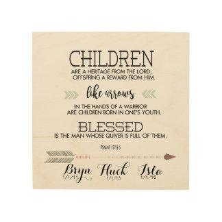 Verso de la escritura de los nombres de los niños cuadro de madera