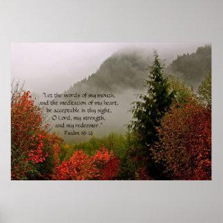 Verso de la impresión w/Scripture de la niebla del Poster