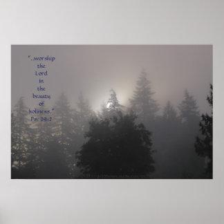 Verso de niebla de la impresión w/Scripture de la  Poster