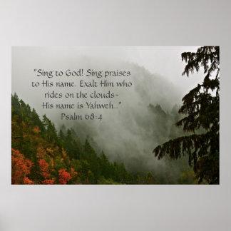 Verso de niebla de la impresión w/Scripture de la  Póster
