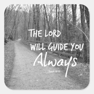 Verso Encouraging de la biblia Pegatina Cuadrada