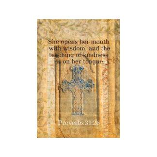 Verso hermoso de la biblia del 31:26 de los prover impresiones en lienzo estiradas
